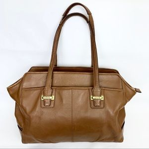 Coach Taylor Leather Saddle Alexis Carryall Tote
